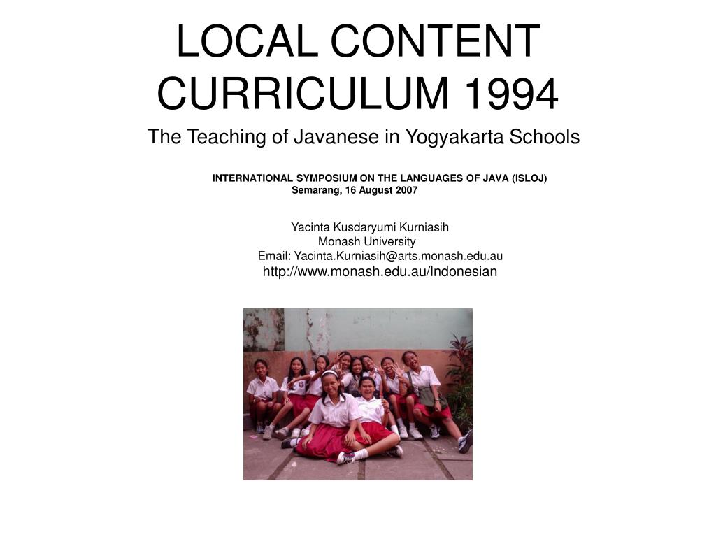 local content curriculum 1994 l.