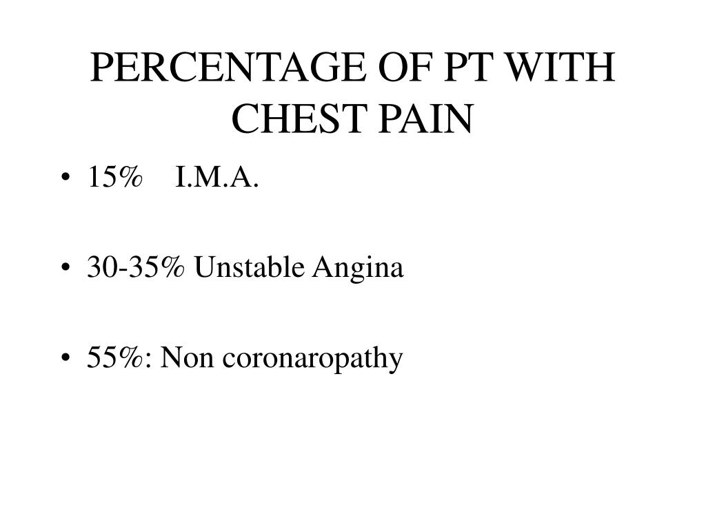 percentage of pt with chest pain l.