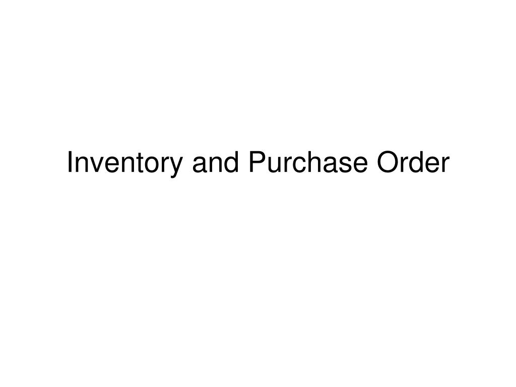 inventory and purchase order l.