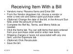 receiving item with a bill