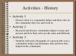 activities history