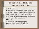 social studies skills and methods activities