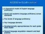 access for ells is built on