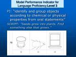 model performance indicator for language proficiency level 3