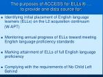 the purposes of access for ells to provide one data source for
