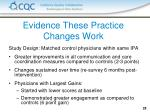 evidence these practice changes work