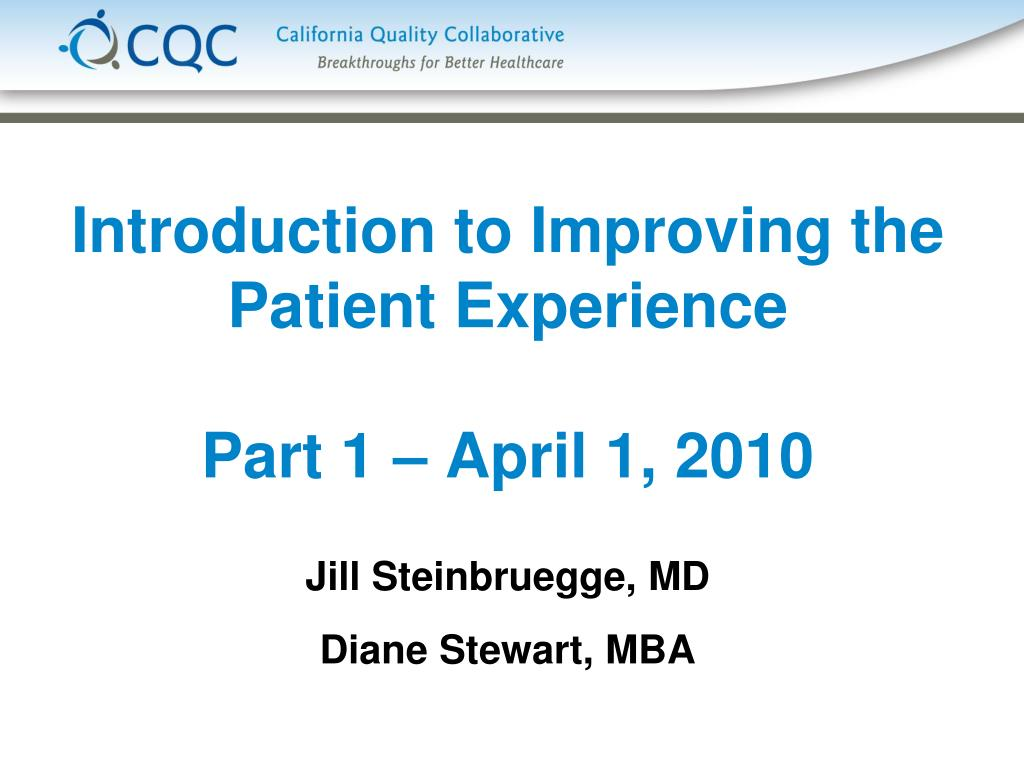 introduction to improving the patient experience part 1 april 1 2010 l.