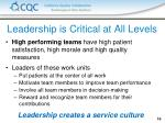 leadership is critical at all levels