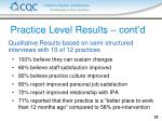 practice level results cont d