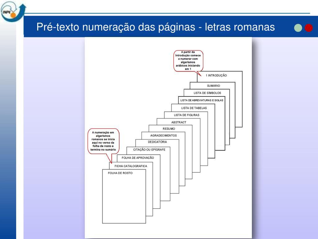 Pré-texto numeração das páginas - letras romanas