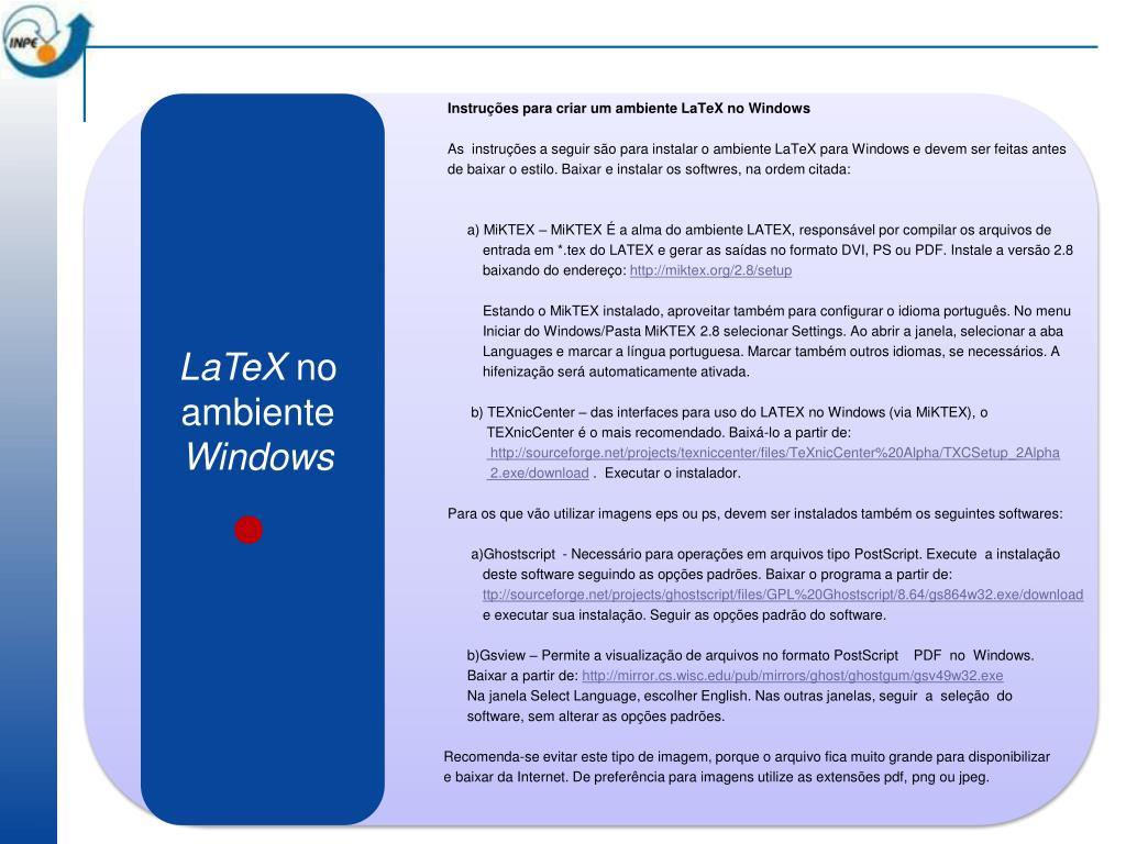 Instruções para criar um ambiente LaTeX no Windows