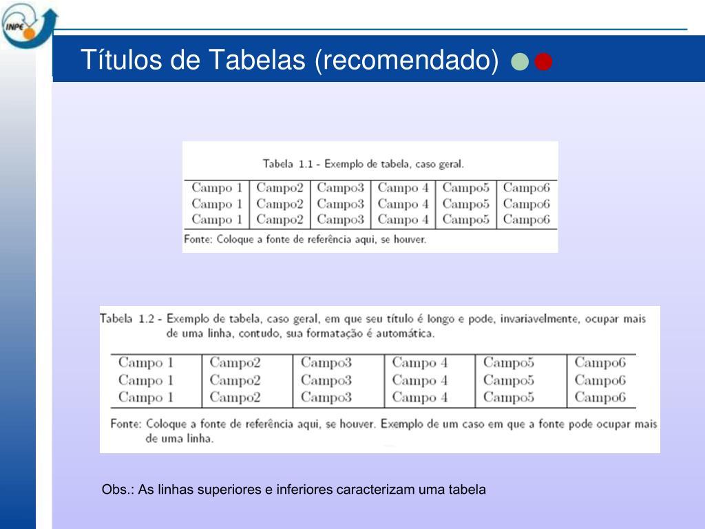 Títulos de Tabelas (recomendado)