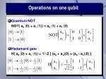 operations on one qubit