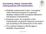 2nd meeting ottawa canada 2003 linking purpose with measurement