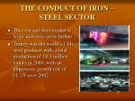 the conduct of iron steel sector