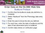 enter data on the globe web site budburst protocol