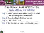 enter data on the globe web site budburst study site definition