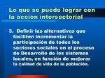 lo que se puede lograr con la acci n intersectorial24
