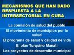 mecanismos que han dado respuesta a la intersectorial en cuba