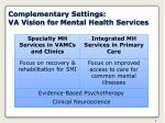 complementary settings va vision for mental health services