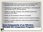 core components of an effective blended mh integration program