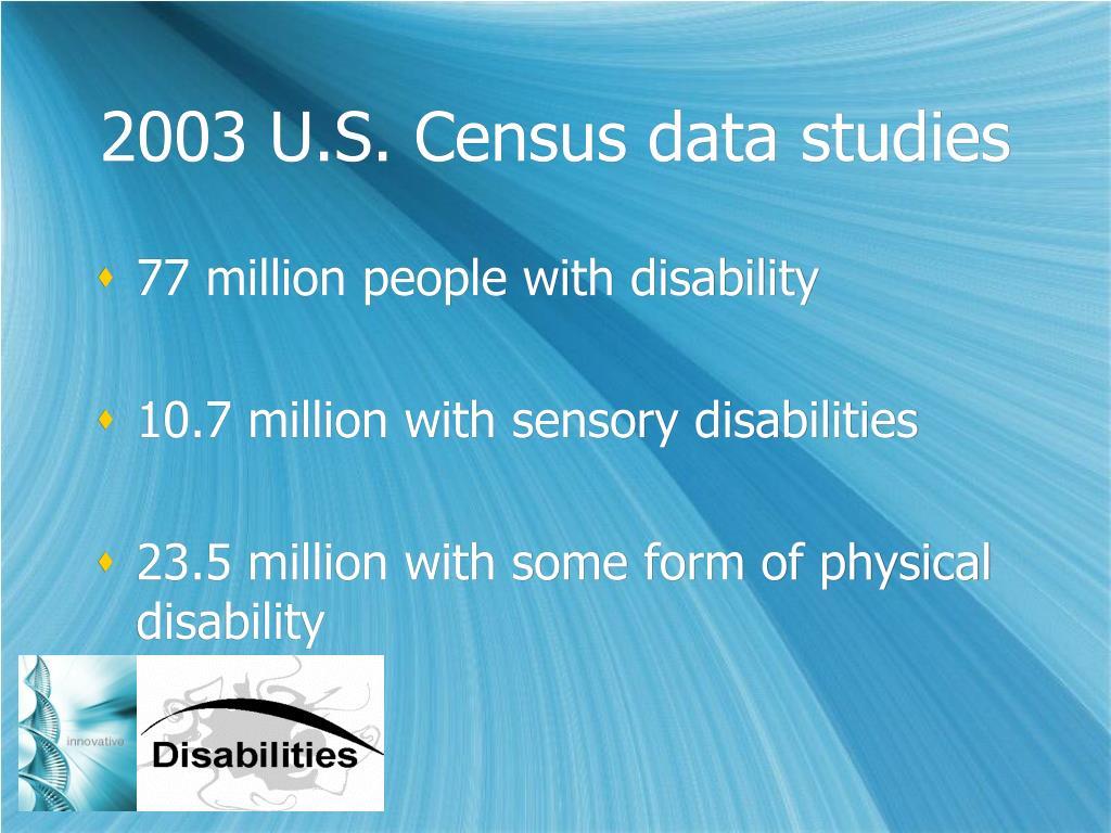 2003 U.S. Census data studies