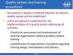 quality system and training procedures