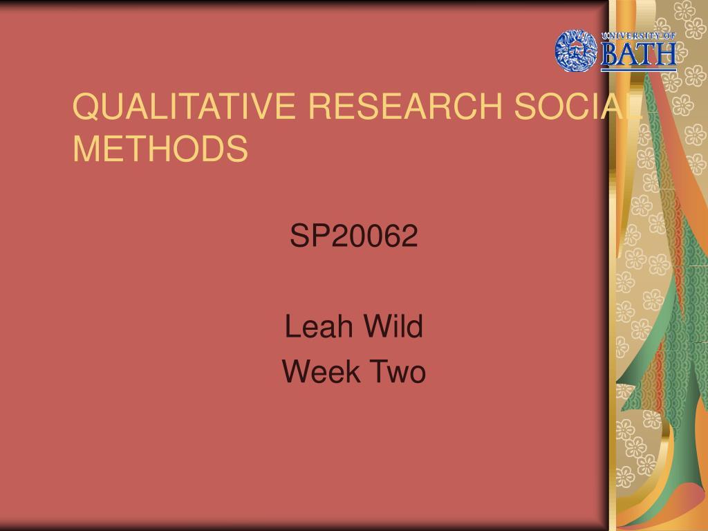 qualitative research social methods l.