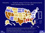 gonorrhea positivity among 15 24 year old women tested in family planning clinics by state 2000