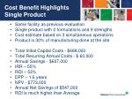 cost benefit highlights single product