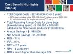 cost benefit highlights step 4