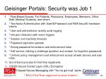 geisinger portals security was job 1