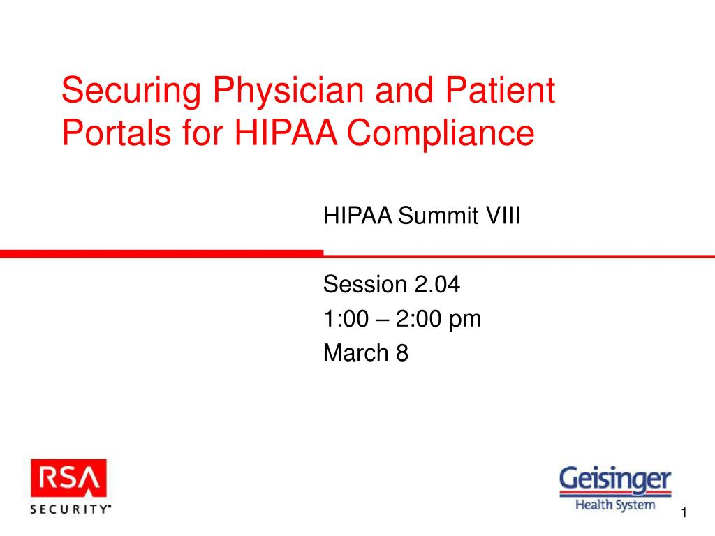 securing physician and patient portals for hipaa compliance l.