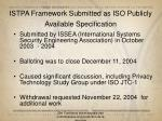istpa framework submitted as iso publicly available specification