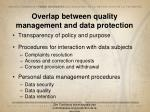 overlap between quality management and data protection