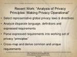 recent work analysis of privacy principles making privacy operational
