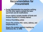 recommendation for procurement