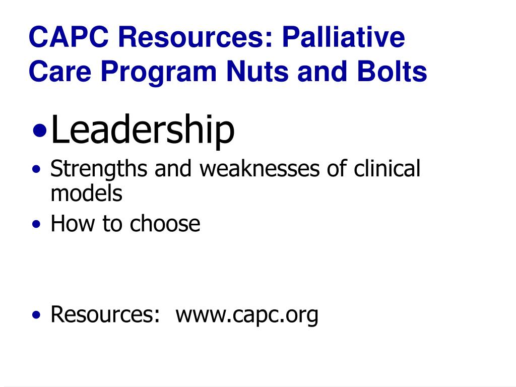 CAPC Resources: Palliative Care Program Nuts and Bolts