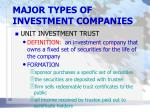 major types of investment companies