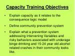 capacity training objectives