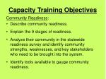 capacity training objectives4