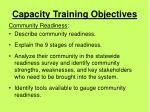 capacity training objectives42