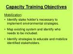 capacity training objectives43