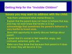 getting help for the invisible children