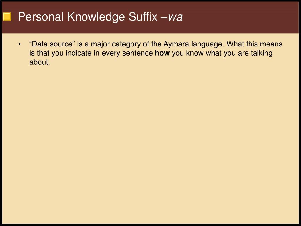 Personal Knowledge Suffix