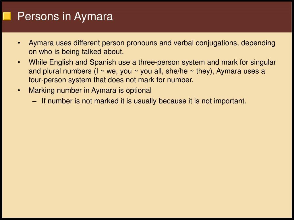 Persons in Aymara