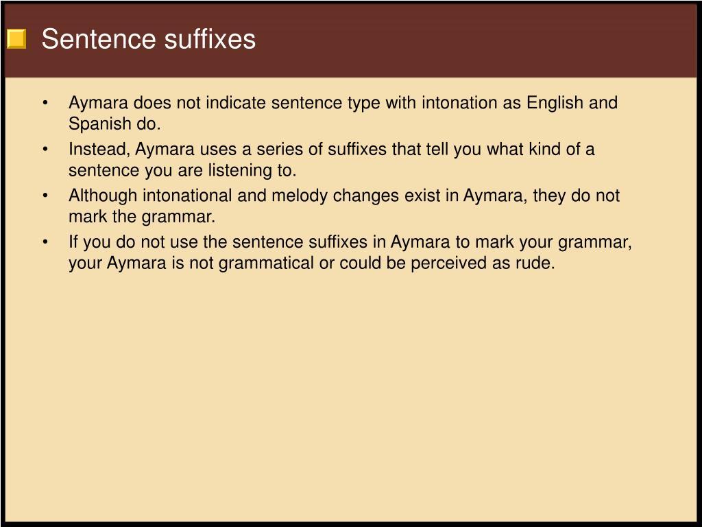 Sentence suffixes
