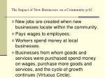 the impact of new businesses on a community p 62