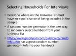 selecting households for interviews