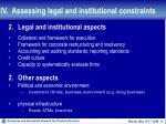 iv assessing legal and institutional constraints18